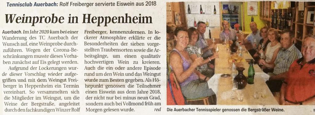 Artikel im Bergsträsser Anzeiger vom 28.08.2021